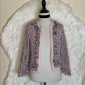 French Connection Pink Frayed Edge Tweed Blazer